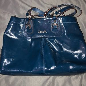 Blue Gloss Coach Purse